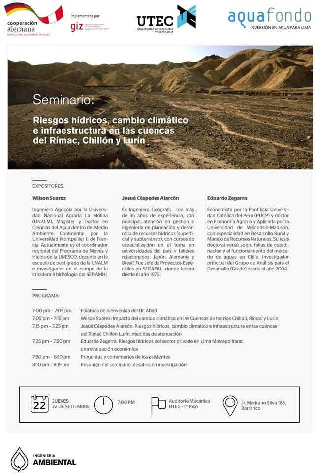 Seminario: «Riesgos hídricos, cambio climático e infraestructura en las cuencas del Rímac, Chillón y Lurín»