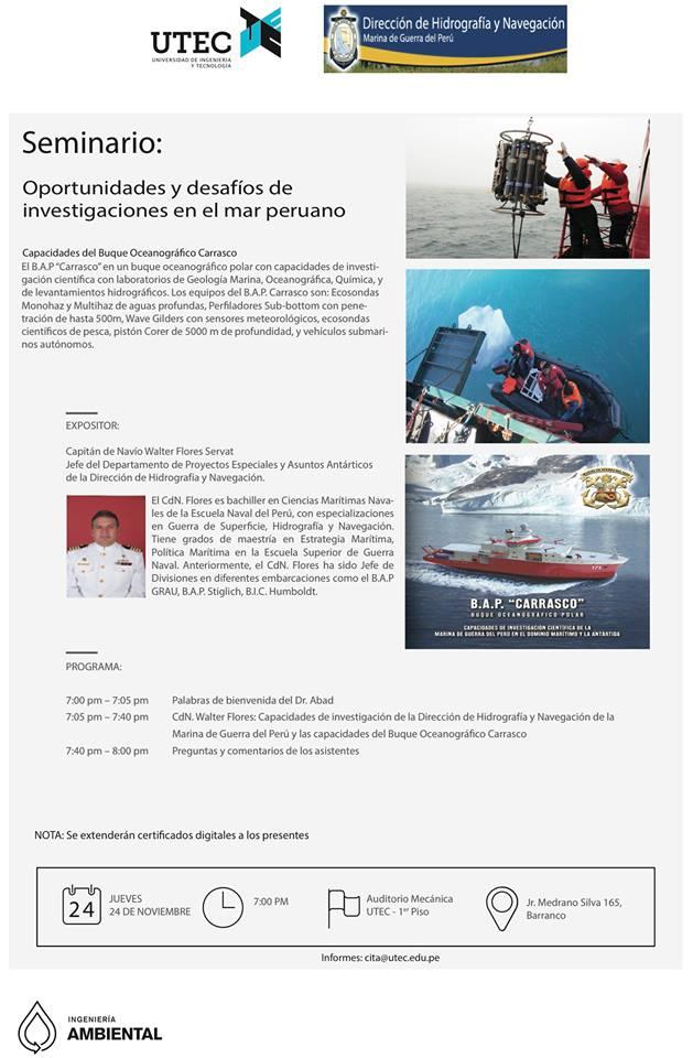 Seminario: «Oportunidades y desafíos de investigaciones en el mar peruano»