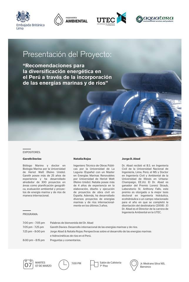 Presentación del proyecto: «Recomendaciones para la diversificación energética en el Perú a través de las energías marinas y de ríos»