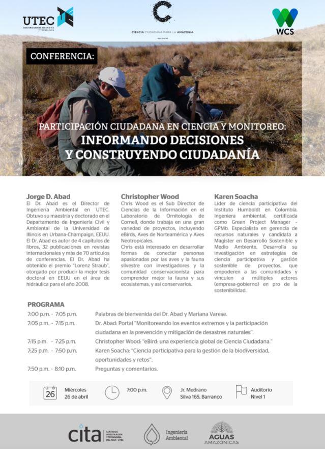 Conferencia: «Participación ciudadana en ciencia y monitoreo: informando decisiones y construyendo ciudadanía»