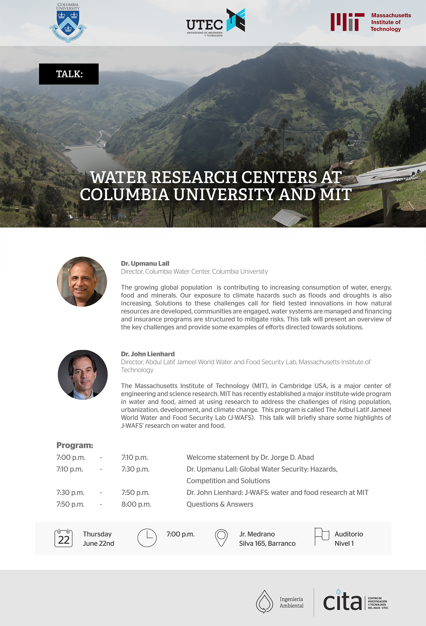 Talk: Water Research Centers at Columbia University and MIT