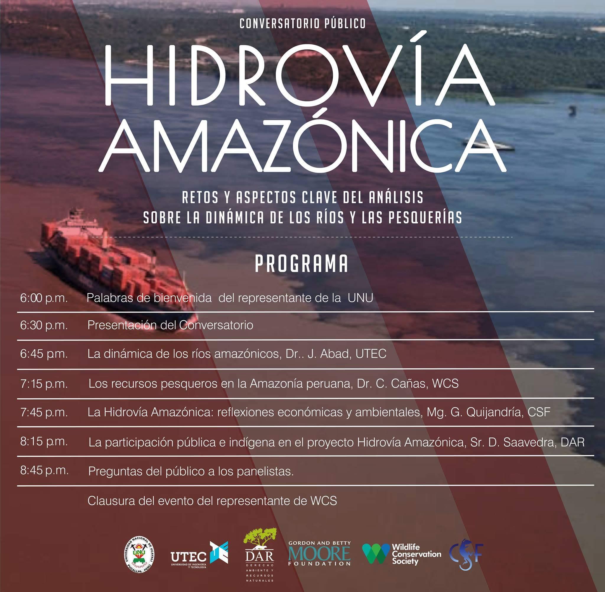 """Conversatorio público: """"La Hidrovía Amazónica: Retos y aspectos claves de análisis sobre las dinámicas de los ríos y las pesquerías"""""""